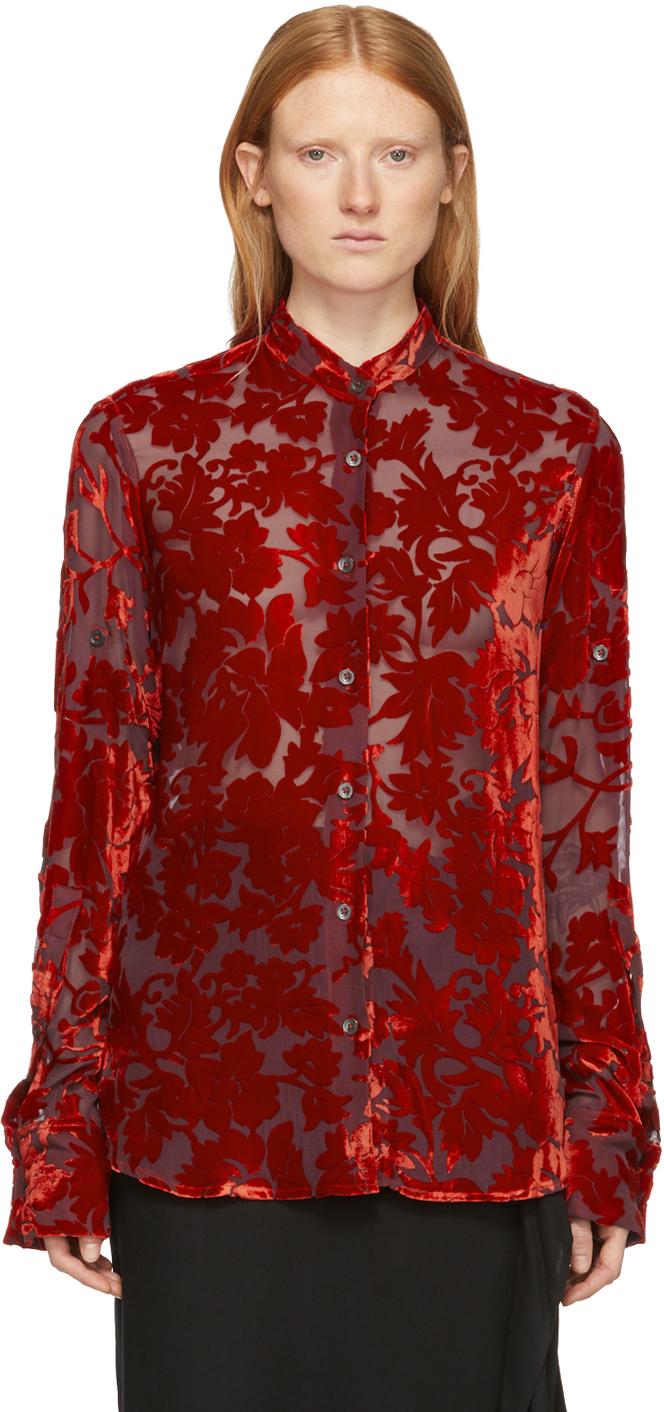 Ann Demeulemeester Shirts Red Floral Elma Shirt