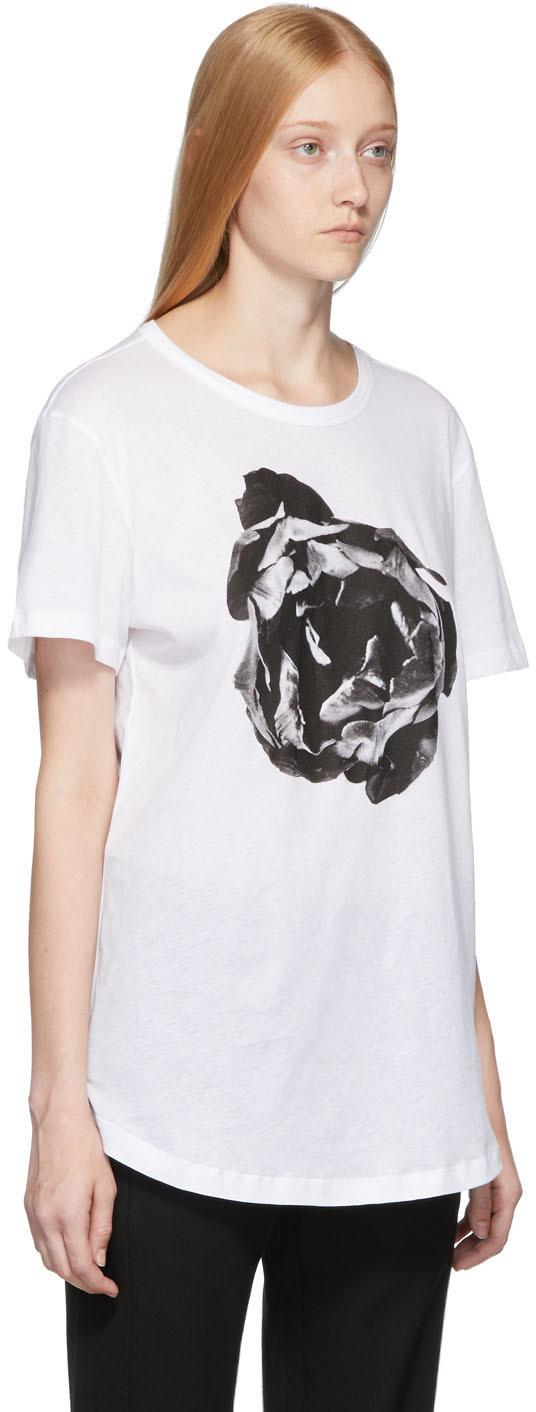 Ann Demeulemeester T-shirts White Flower Print T-Shirt