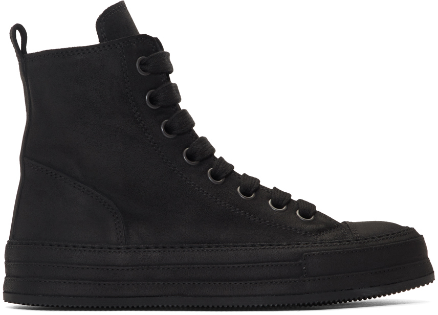 Ann Demeulemeester Sneakers SSENSE Exclusive Black Suede High-Top Sneakers
