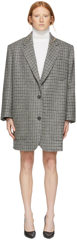 Thom Browne Blazers Grey Wool Check Oversized Blazer