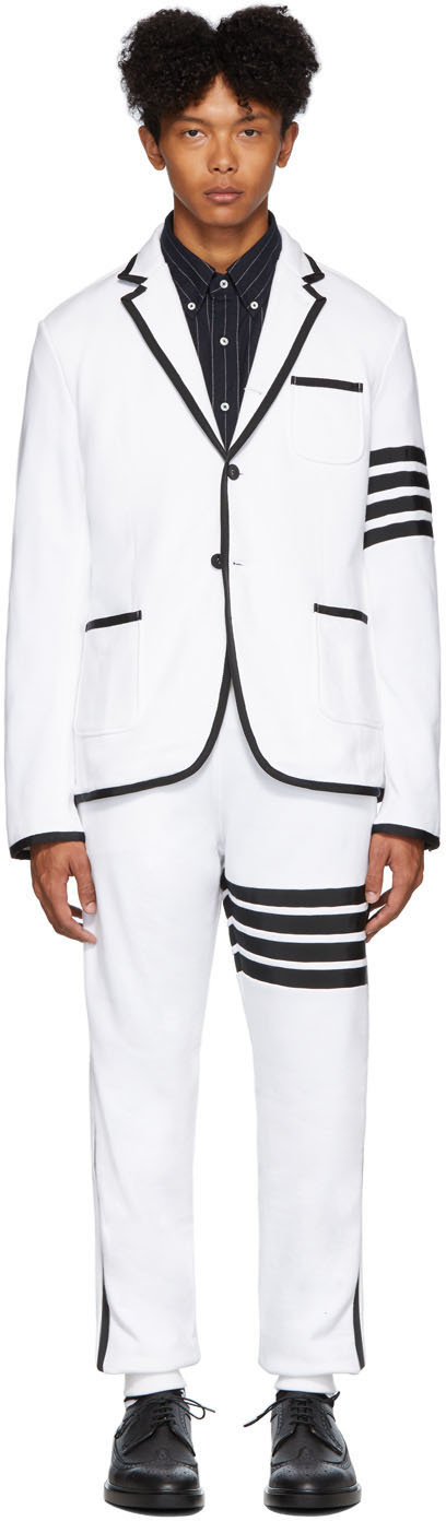 Thom Browne Suits White Classic Loopback 4-Bar Suit