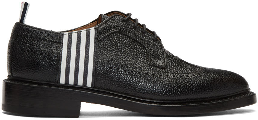 Thom Browne Shoes Black 4-Bar Contrast Classic Longwing Brogues