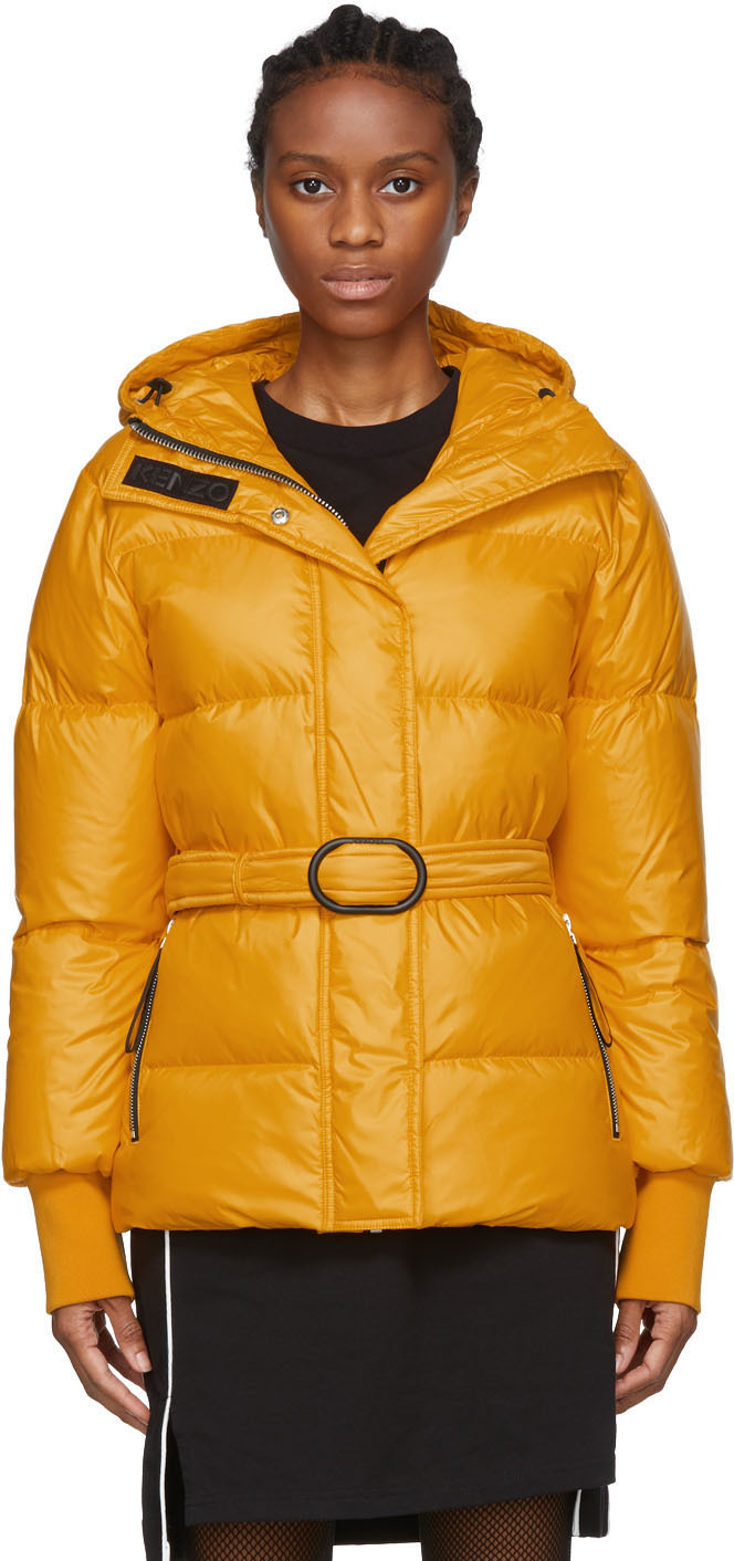 Kenzo Jackets Orange Down Short Belted Puffa Jacket