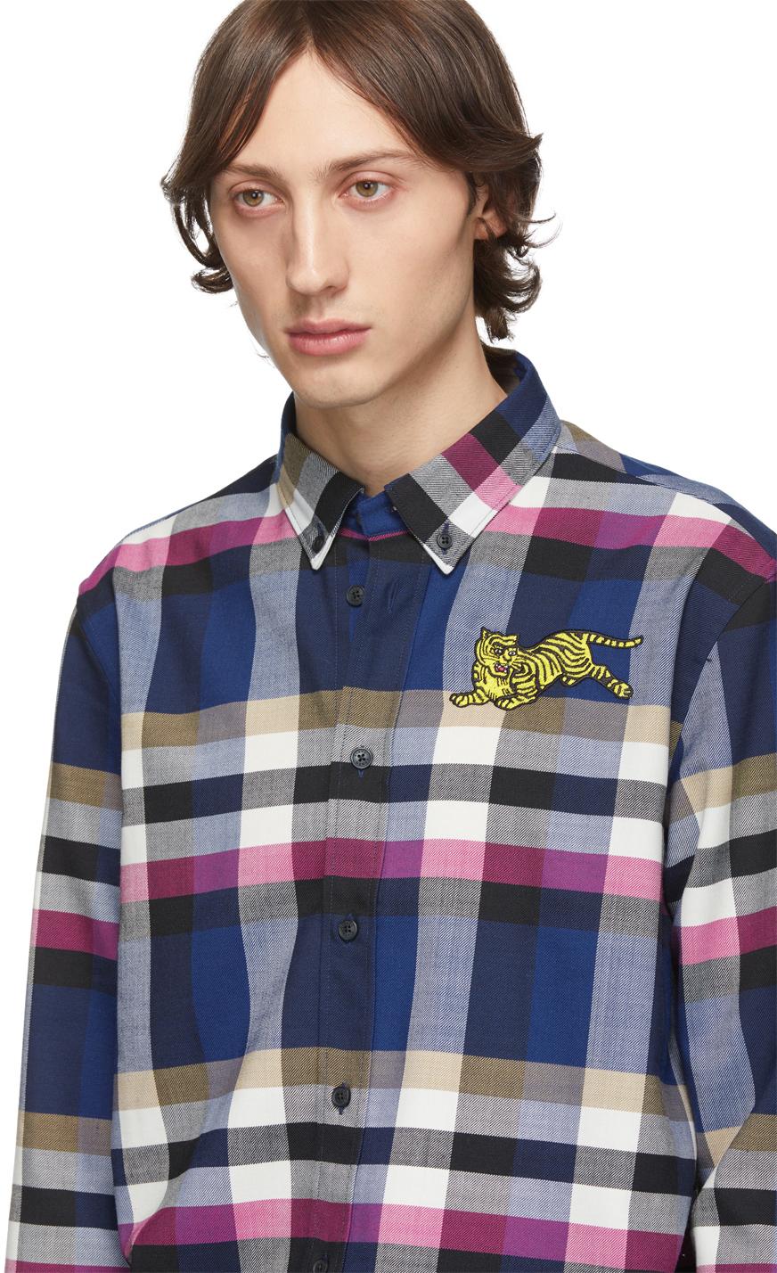 KENZO Downs Navy Jumping Tiger Crest Shirt