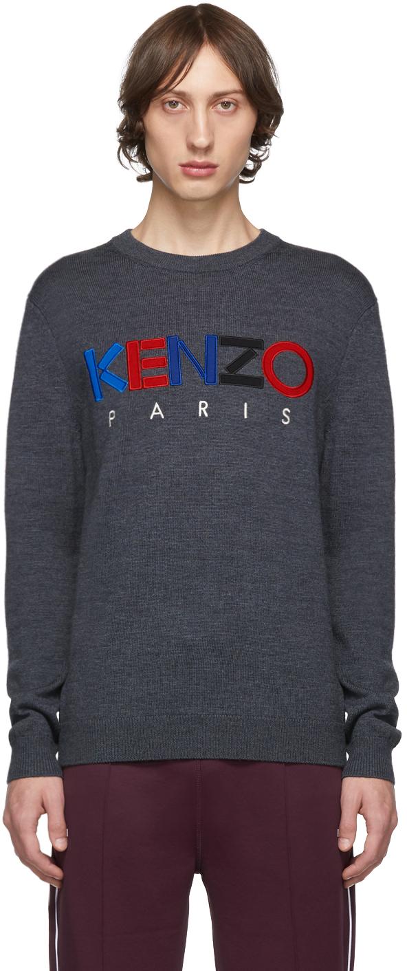 Kenzo Sweaters Grey Wool 'Kenzo Paris' Sweater
