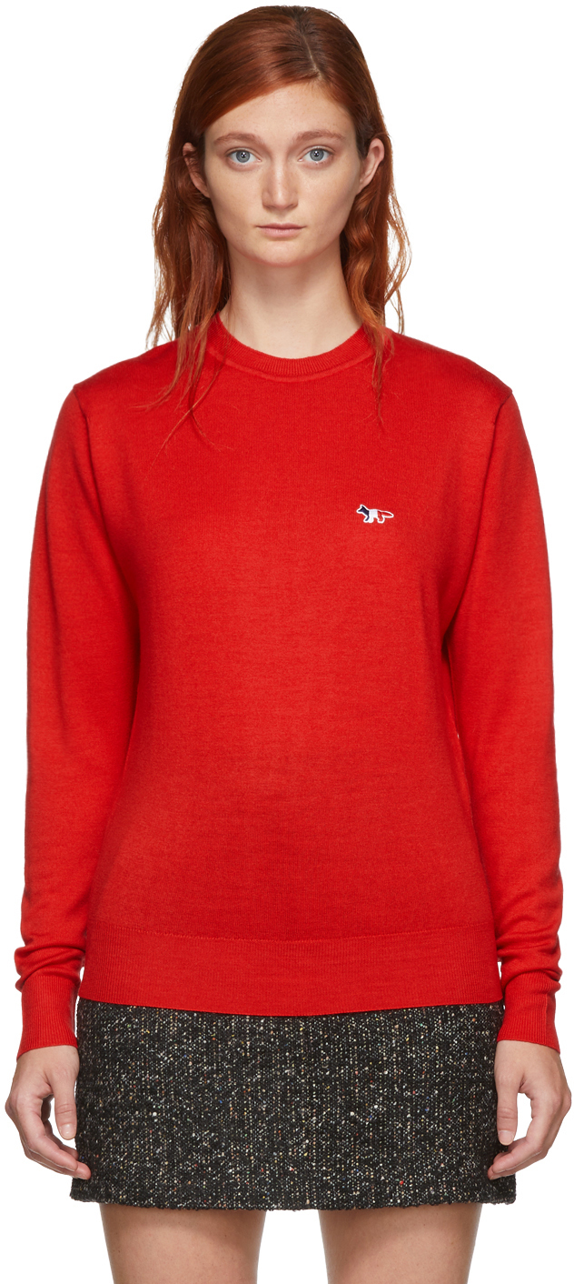Maison Kitsuné Sweaters Red Virgin Wool R-Neck Pullover Sweater