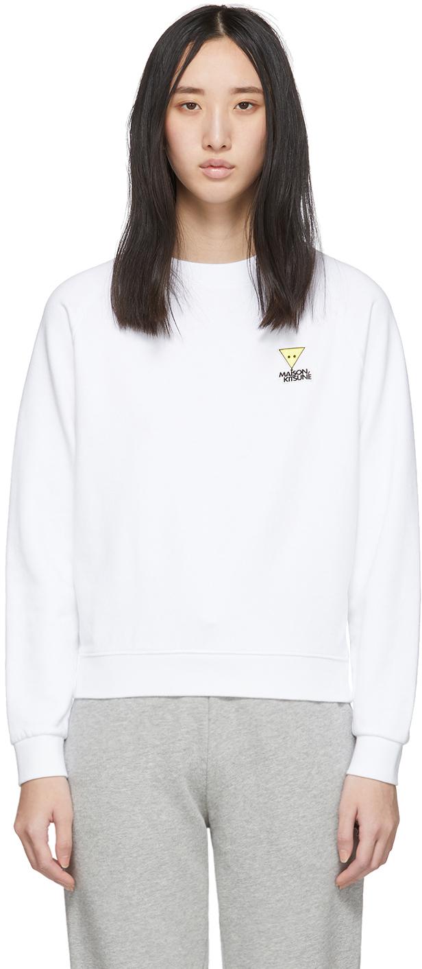 Maison Kitsuné T-shirts White Smiley Fox Sweatshirt