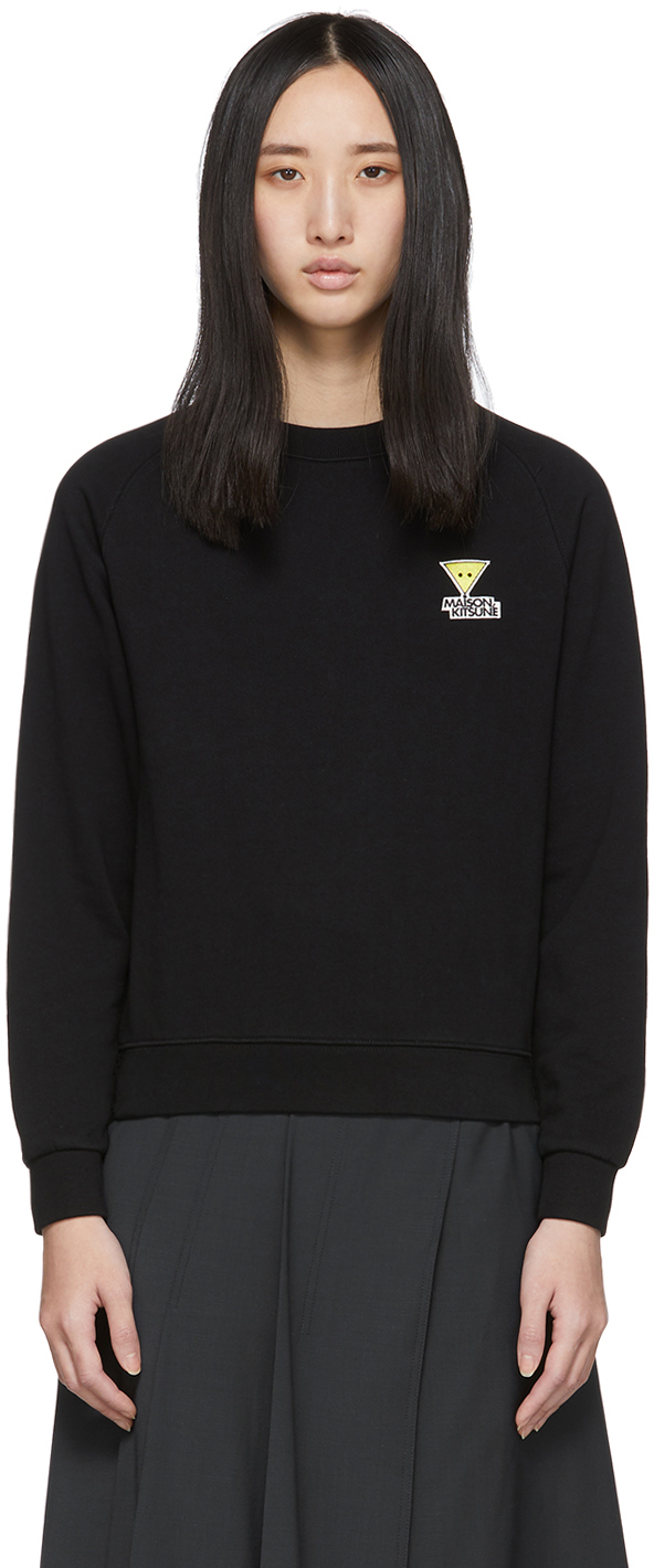 Maison Kitsuné T-shirts Black Smiley Fox Sweatshirt
