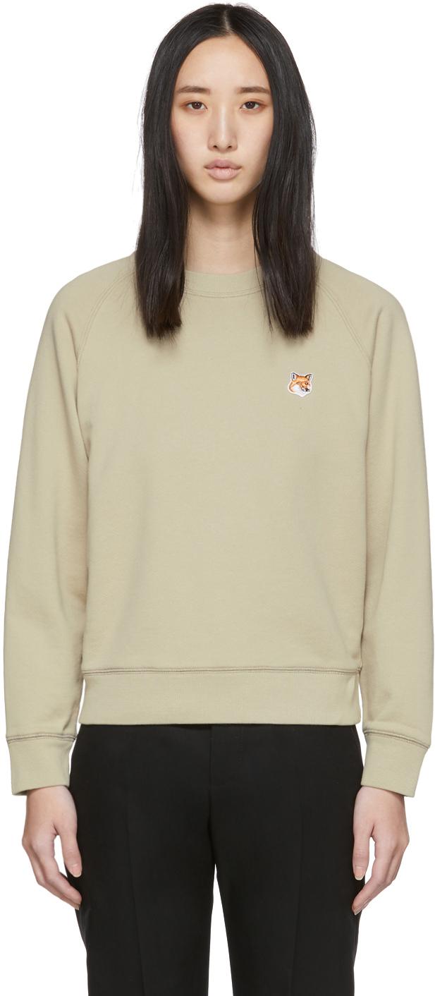 Maison Kitsuné T-shirts Beige Fox Patch Sweatshirt