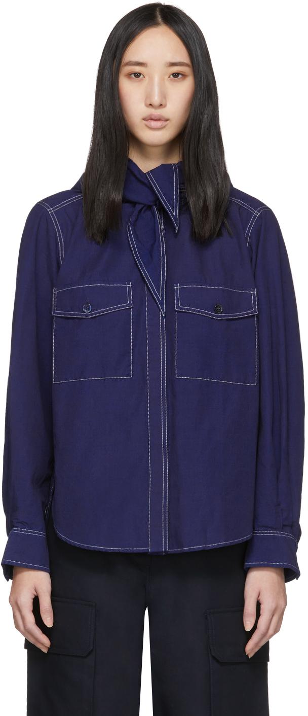 Maison Kitsuné T-shirts Indigo Lavallière Shirt