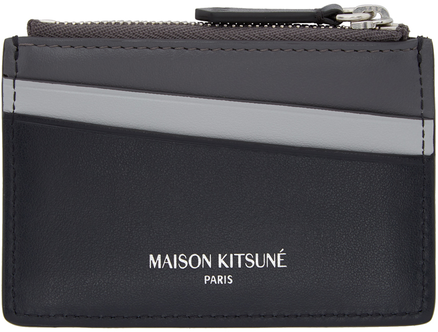 Maison Kitsuné Accessories Black & Grey Colorblocked Card Holder