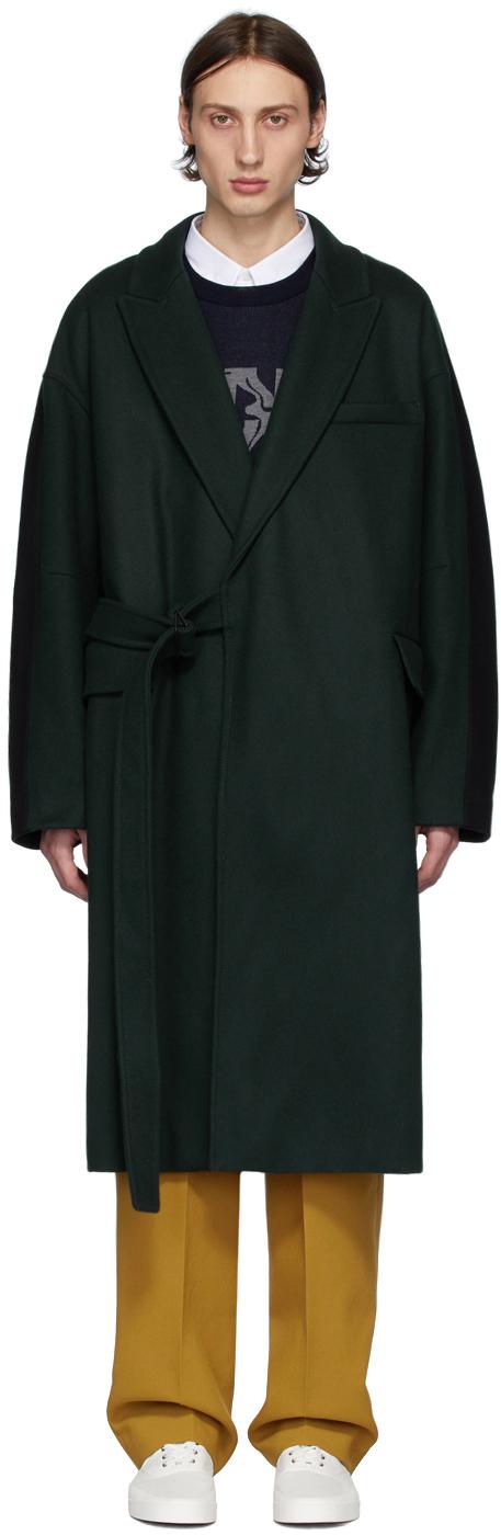 Maison Kitsuné Coats Green & Black Bifabric Wrap Coat