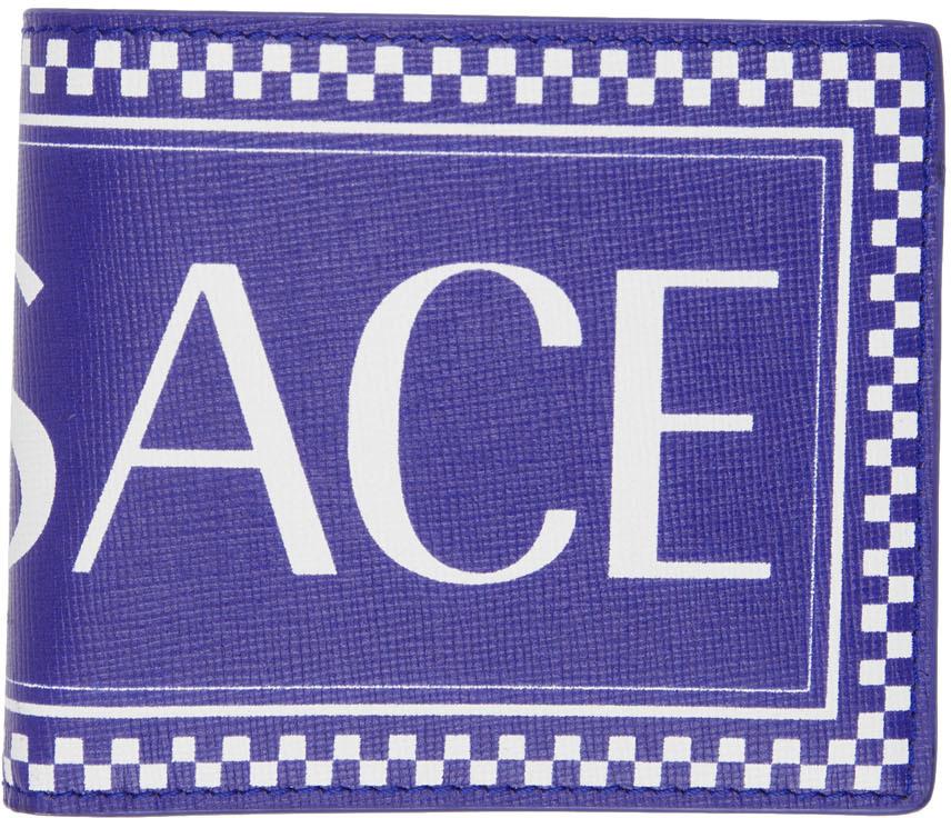 Versace Wallets Blue 90s Vintage Logo Wallet