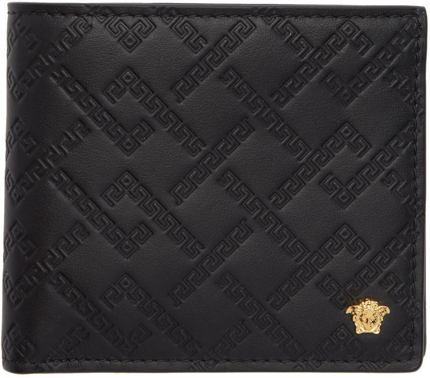 Versace Pouches Black & Gold Greek Key Wallet