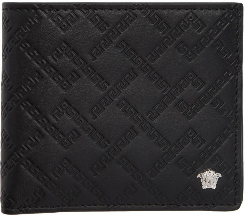 Versace Wallets Black & Silver Greek Key Wallet
