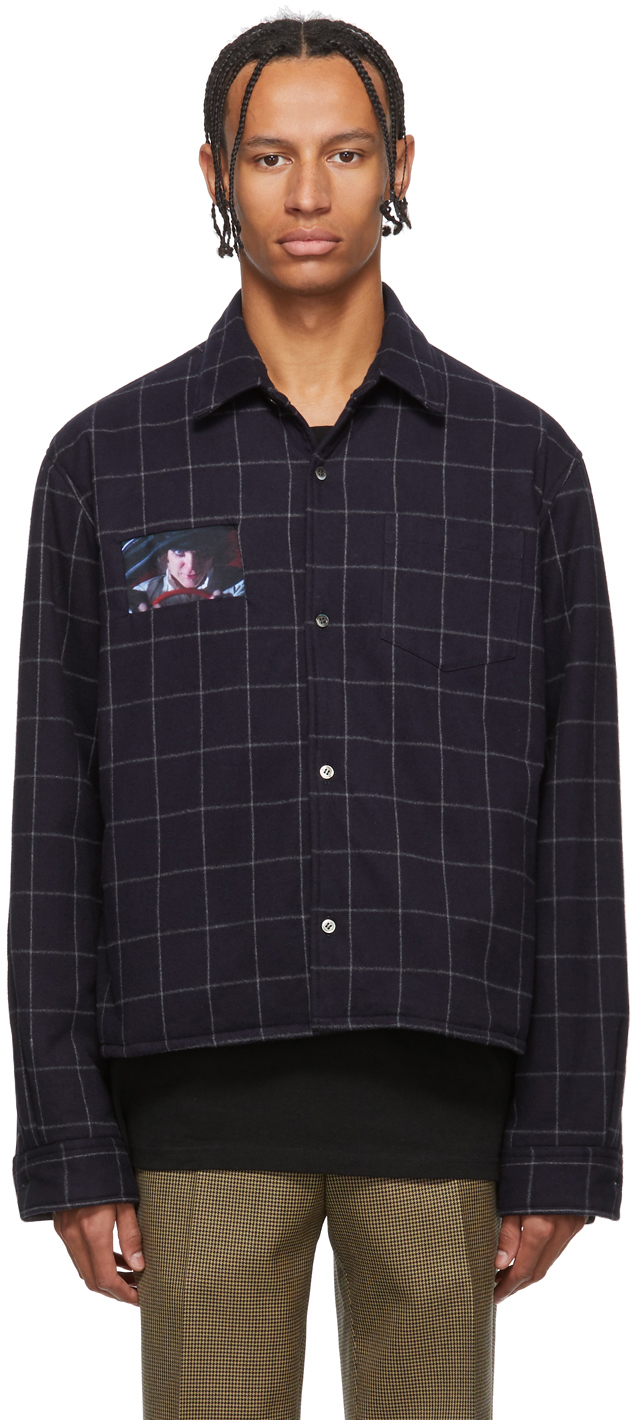 Undercover Jackets Navy A Clockwork Orange Check Shirt Jacket