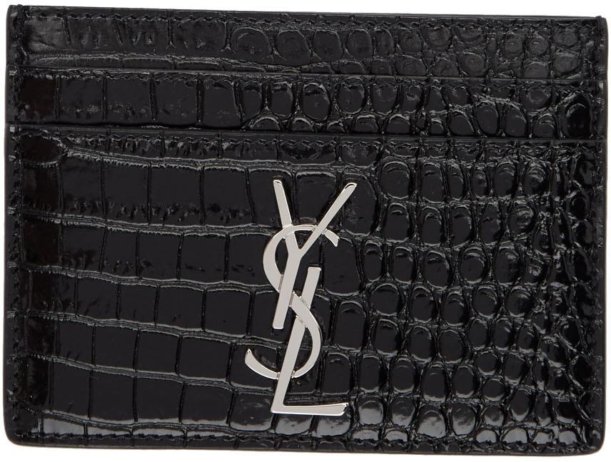 Saint Laurent Accessories Black Croc Monogramme Card Holder