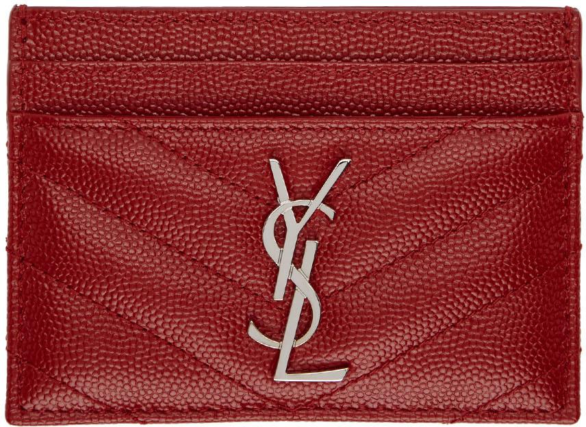 Saint Laurent Wallets Red Monogramme Card Holder