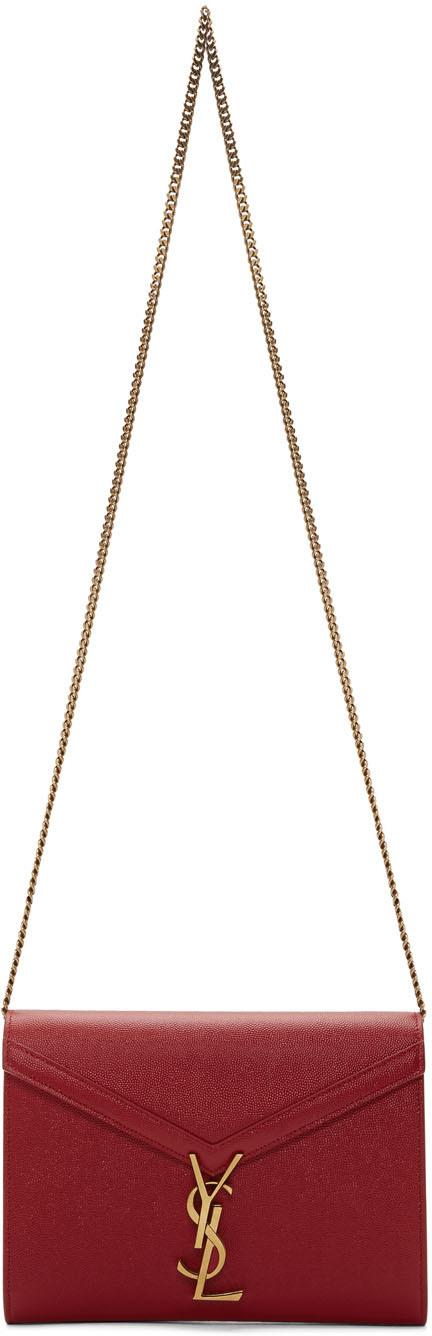 Saint Laurent Shoulder Red Cassandra Chain Wallet Bag