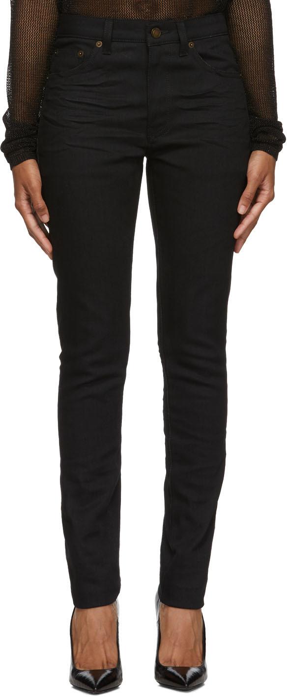 Saint Laurent Jeans Black Mid-Rise Skinny Jeans