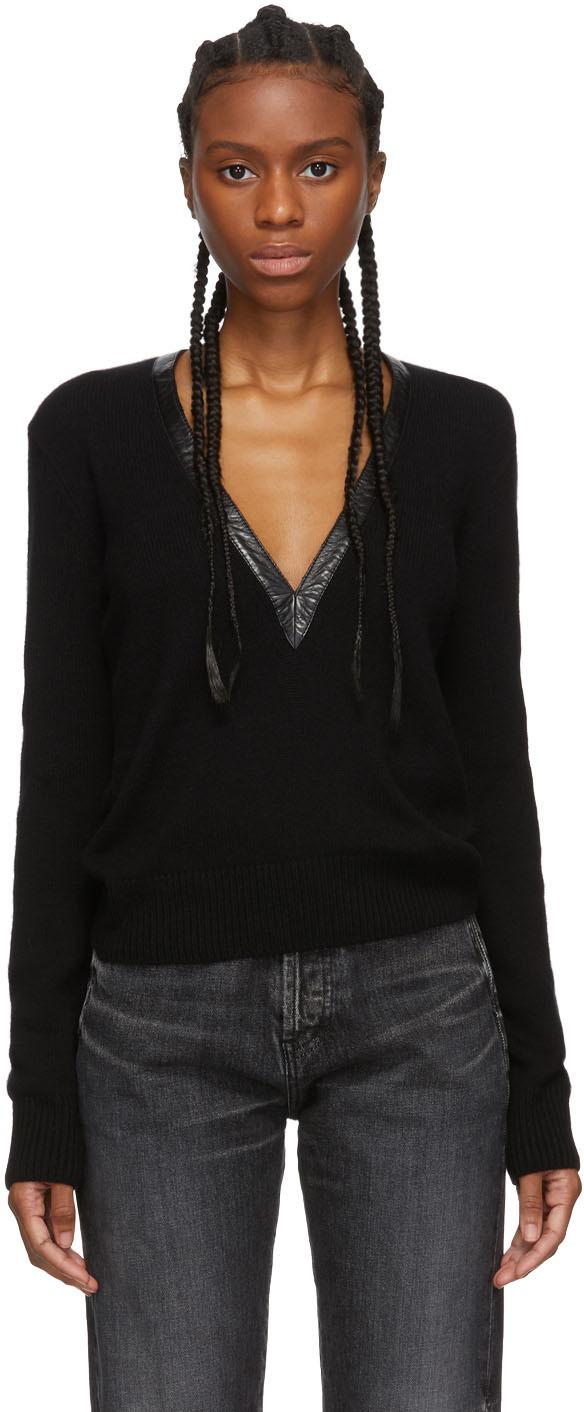 Saint Laurent Sweaters Black Plunge V-Neck Sweater