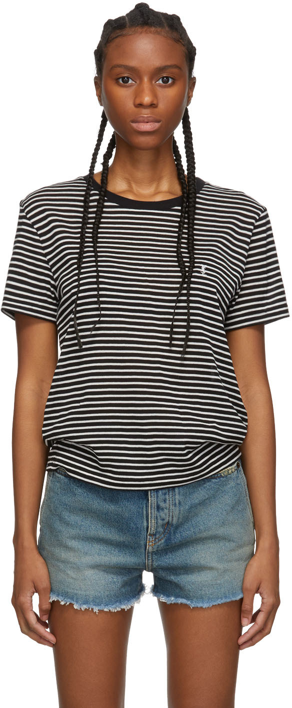 Saint Laurent T-shirts Black & White Striped Monogram T-Shirt