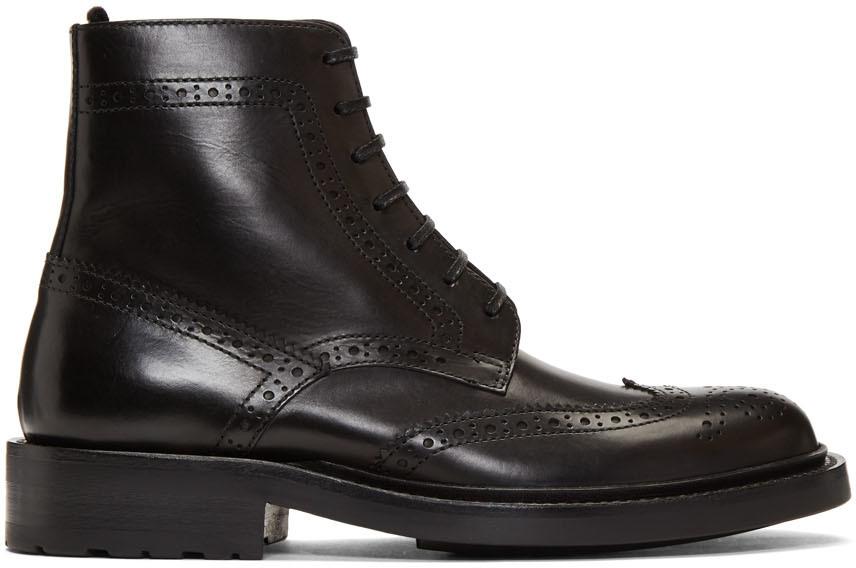 Saint Laurent Shoes Black Army Brogues Boots