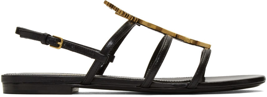 Saint Laurent Flats Black Cassandra Sandals