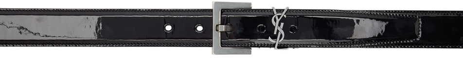 Saint Laurent Belt Black & Silver Patent Square Monogramme Belt