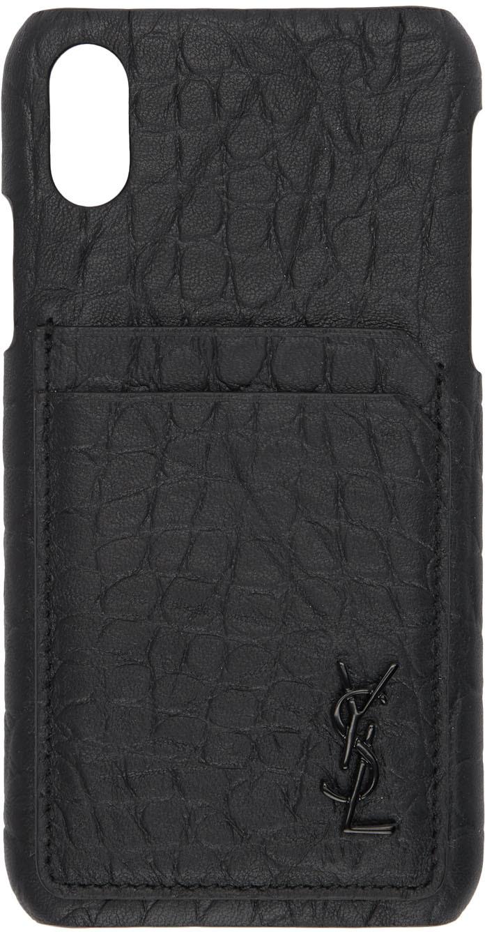 Saint Laurent Cases Black Croc Monogramme iPhone XS Case