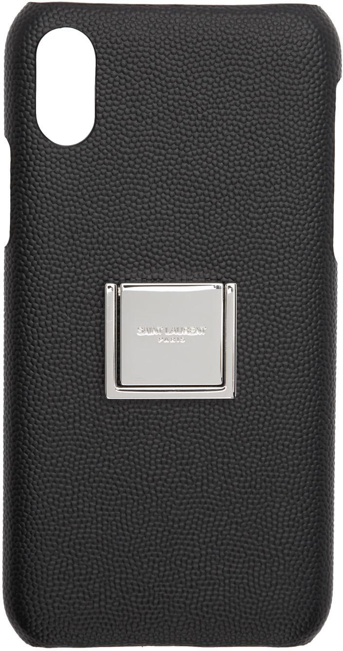Saint Laurent Cases Black Leather Ring Logo iPhone 10 Case