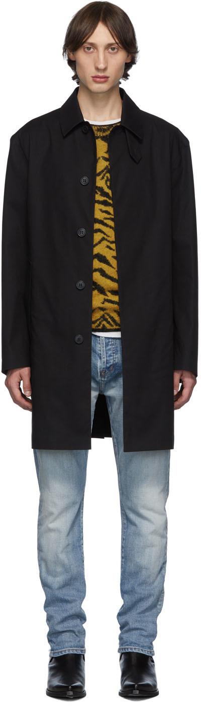 Saint Laurent Coats Black Mac Trench Coat