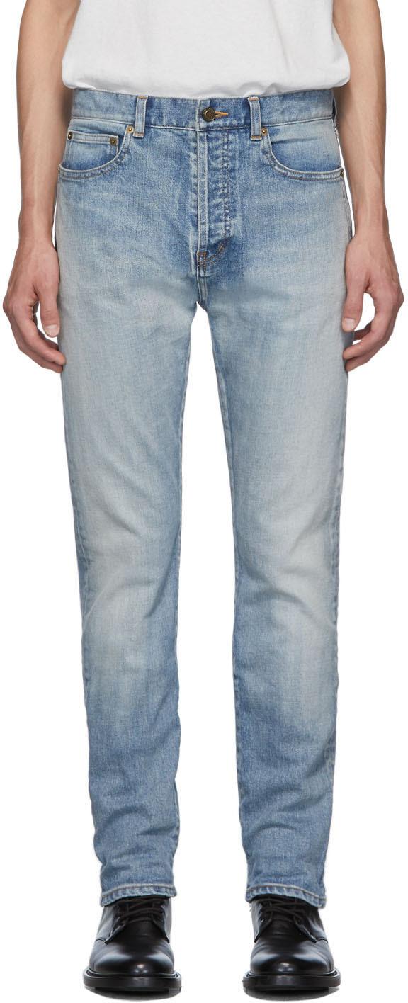 Saint Laurent Jeans Blue Straight-Cut 80's Jeans