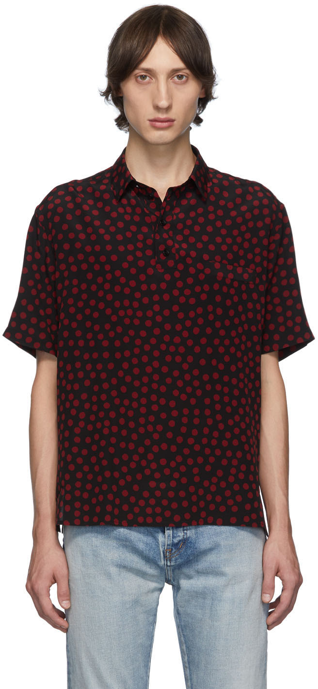 Saint Laurent T-shirts Black & Red Polka Dot Short Sleeve Shirt