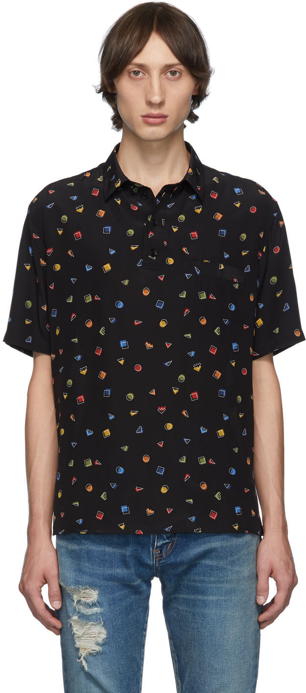 Saint Laurent T-shirts Black Gommettes Short Sleeve Shirt