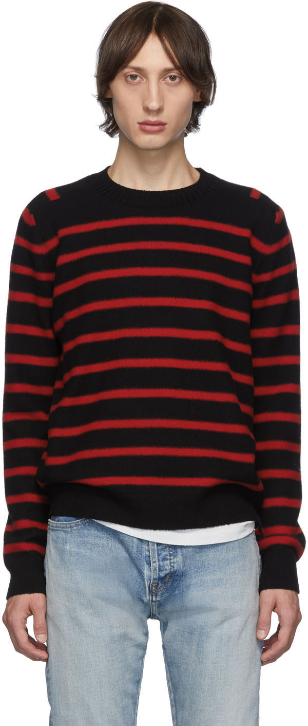 Saint Laurent Sweaters Black & Red Striped Sweater