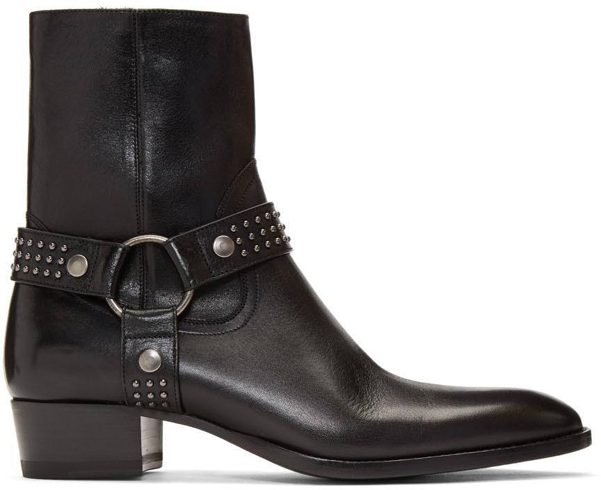 Saint Laurent Boots Black Kangaroo-Look Wyatt Harness Stud Boots