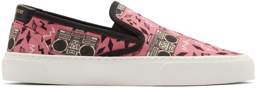 Saint Laurent Sneakers Pink Radio-Print Venice Slip-On Sneakers