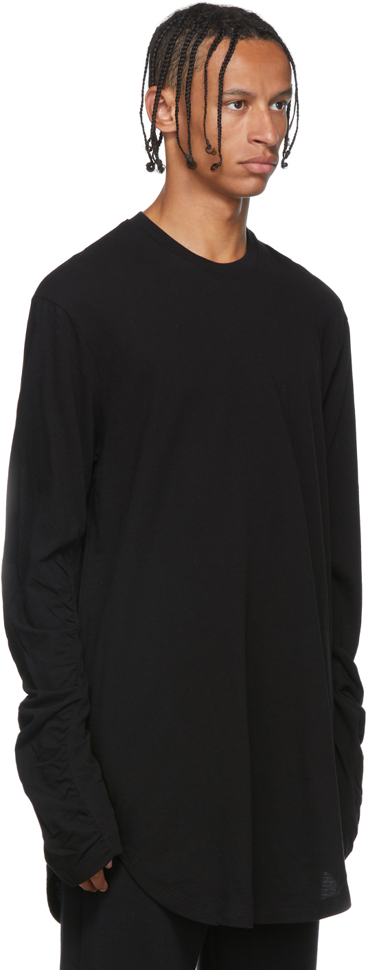 Julius T-shirts Black Draped Long Sleeve T-Shirt