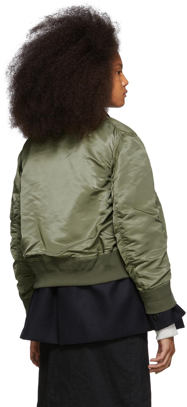 Sacai Jackets Navy & Green Melton MA-1 Jacket