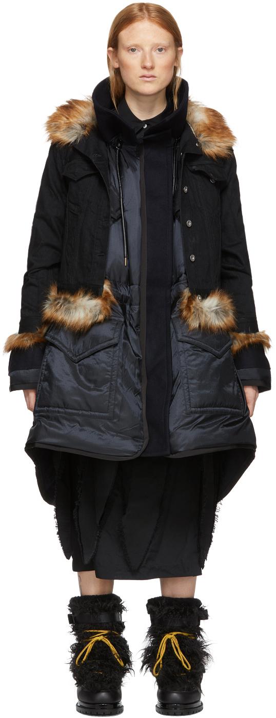 Sacai Coats Black Insulated Denim Coat