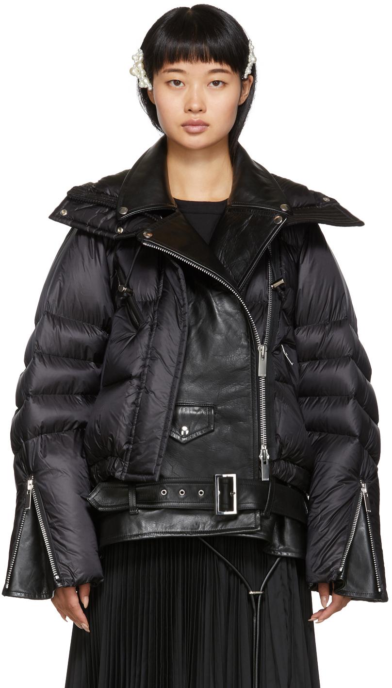 Sacai Jackets Black Down Leather Biker Jacket