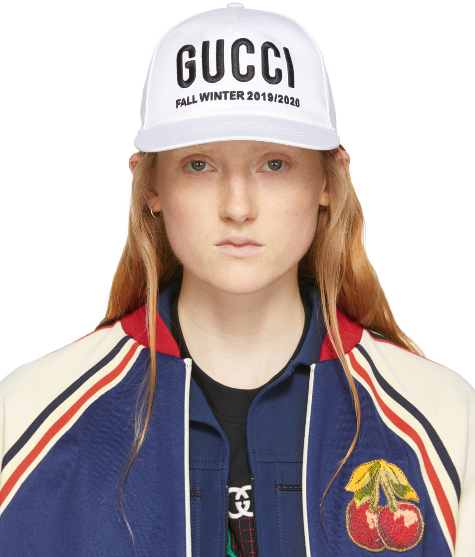 Gucci Accessories White Logo Embroidery Baseball Cap