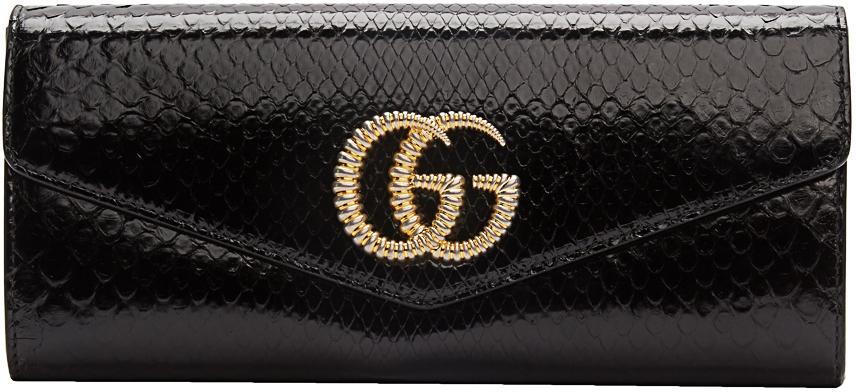 Gucci Clutch Black Snake GG Broadway Clutch