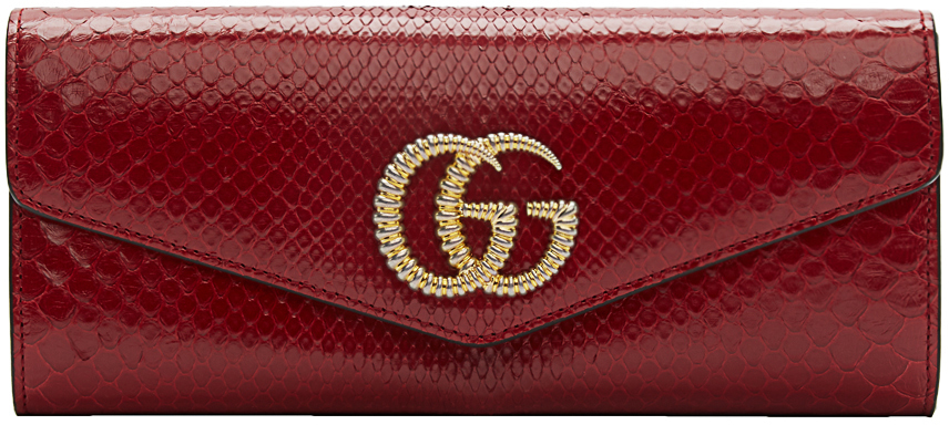 Gucci Clutch Red Snake GG Broadway Clutch