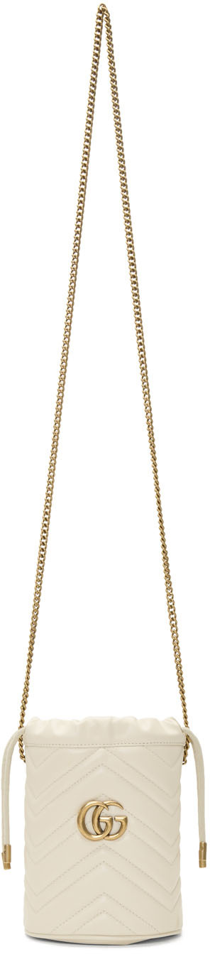 Gucci Shoulder White Mini GG Marmont Bucket Bag
