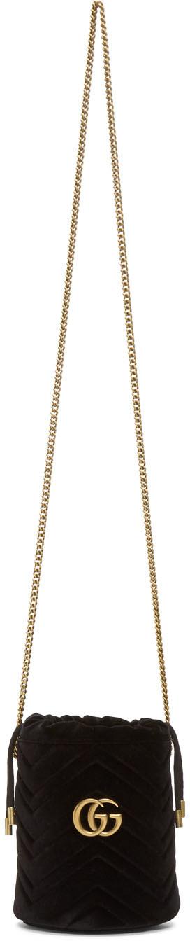 Gucci Shoulder Black Mini Velvet GG Marmont Bucket Bag