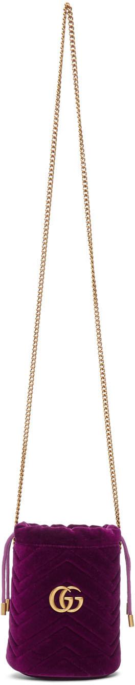 Gucci Shoulder Pink Mini Velvet GG Marmont Bucket Bag