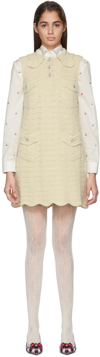 Gucci Dress Off-White Crochet Wool Dress