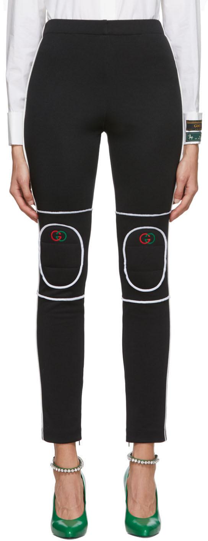 Gucci Pants Black Knee Pad Leggings